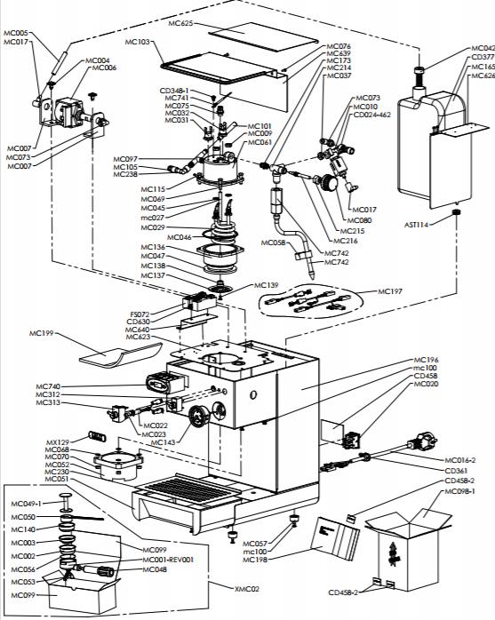 Schéma technique de la Lelit PL41TEM